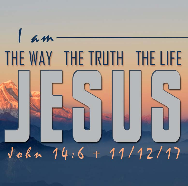 Jesus in big letters with John 14:6